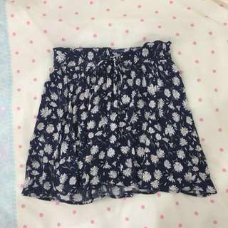 Cotton On Navy Blue Floral Skirt