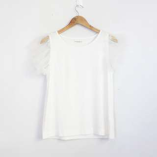 Korean Fashion Style White T-Shirt with Tulle Sleeves (S-M)