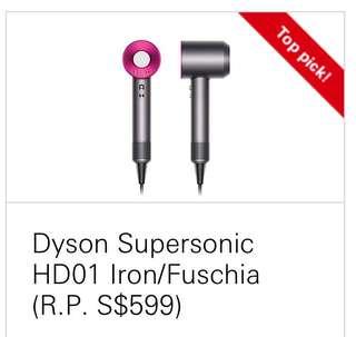 Dyson Supersonic HD01 Iron/Fuschia Hair Dryer