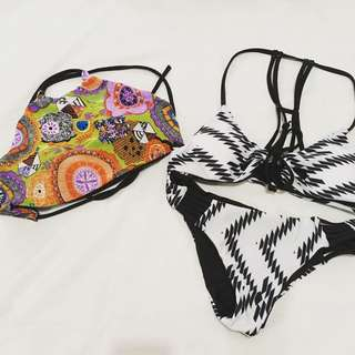 Black & white aztec swimsuit with FREE reversible swimsuit top