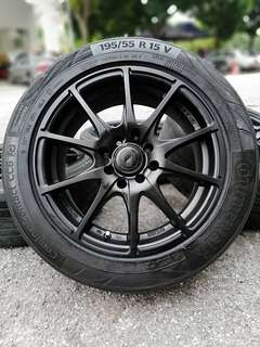 Tag racing 15 inch sports rim bezza tyre 70%. *jualan penghabisan stock mora mora*