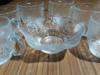 vintage Made in Italy glass set of 6 floral tea cups and bowl