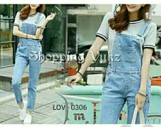 Jumpsuit wanita overall jeans soft blue