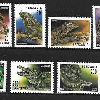 坦桑尼亞郵票 1993 爬行動物蛇龜鱷魚蜥蜴7全新