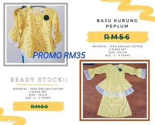 PROMO!Ready Stock! Baju Kurung Peplum Kanak-Kanak
