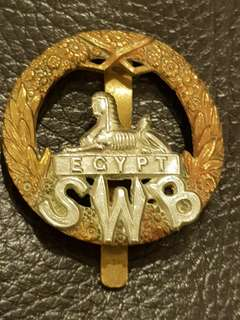 Genuine and original WW2 British Army South Wales Borderers cap badge