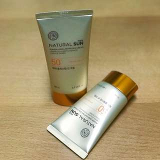 The Face Shop Natural Sun Eco Power Long-Lasting Sun Cream SPF50+ PA+++ (80ml + 50ml Set)