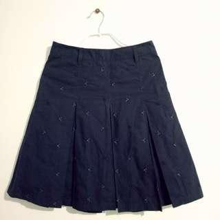 Dark Blue Pleated Skirt