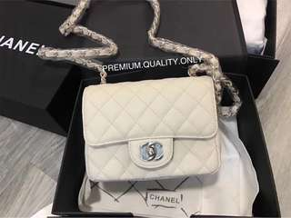 Boutique Quality Chanel Mini Square - white Caviar