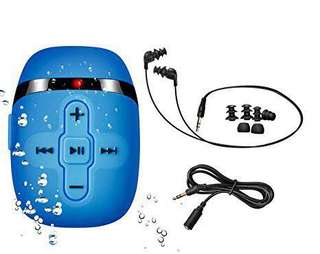 32.Sigomatech 8GB waterproof swimming mp3 player with short cord headphones