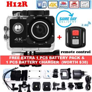 🚚 [Brand New & Authentic] H12R Ultra HD 4K@30FPS Action Sports Camera DVR, Wifi&RF 2.4G Wireless Control, Waterproof 30M Digital Camera, 170 Degree Wide Lens comes with ONE-Year Warranty, FREE Extra 1 Pcs Battery Pack & Charger & SAME Day Delivery at S$65!