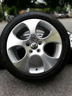 Volkswagen golf gti mk5 mk6 mk7 sports rim 17 inch tyre 70%. *offer raya bergaya*