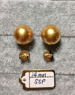 Golden South Sea Pearls Earrings with Genuine  14k Gold Backing