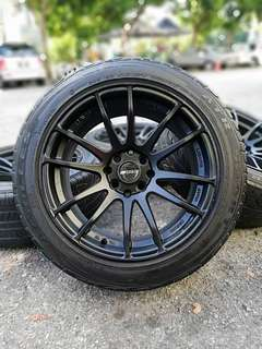 Rays gramlight 16 inch sports rim swift tyre 70%. *jual mora mora kasi you*