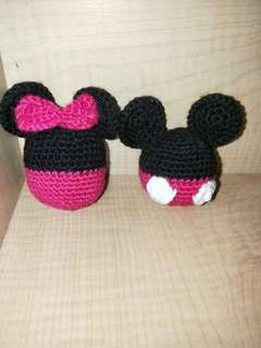 Handmade crochet Mickey & Minnie Charm
