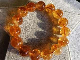 👑巴西天然黃水晶手鏈15mm手珠手串
