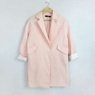 [RESERVED] Korean Fashion Style Peach Long Lightweight Blazer Jacket Coat