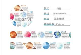 Moodtape Planet Washi Tape per 80cm