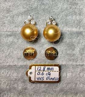 South Sea Pearl Earrings With Diamonds and 18k Gold Setting and Backing