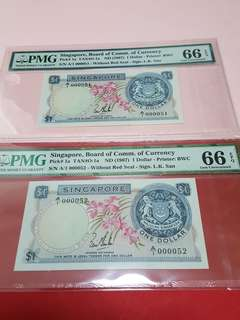 $1-Orchid 1st prefix.2pcs running.A/1-000051-A/1-000052. BOTH PMG66EPQ.SIGN LKS.VERY RARE.