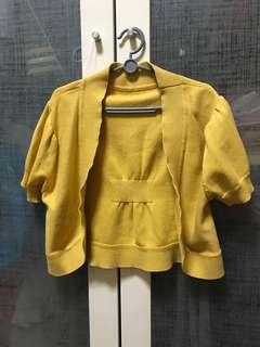 Yellow shirt sleeve cardigan