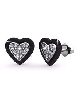 Ceramic heart earrings ( crystal bling )