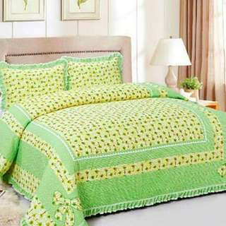HIGH QUALITY BED SHEET PATCHWORK QUEEN SET OF 3 GREEN SUNFLOWER WITH LACE BORDER Queen