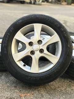 Original sports rim myvi tyre 98%. *tayar yang padu untuk berhari raya *