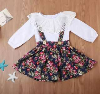 🚚 Sweet princess floral ruffled dress set