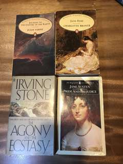Classics: jane Austen; Jules Verne , jane eyre, and Irving stone the agony and ecstasy