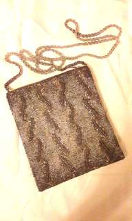 Silver beaded pouch