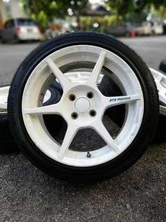P1 buddy club 16 inch sports rim myvj tyre 70%. *mora mora jual*