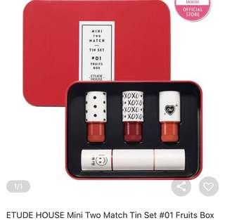 Etude House mini two match tin set #1 fruits box
