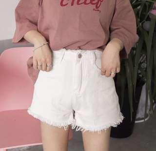 韓版百搭顯瘦高腰牛仔短褲