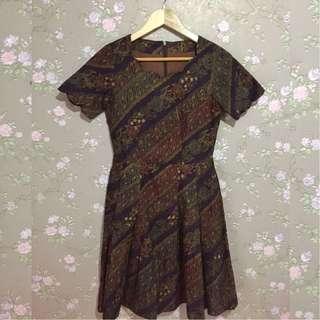 Batik dress coklat