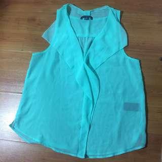 Bluegreen see-through blouse