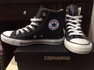 🚚 全新 CONVERSE 荔枝皮黑色高筒球鞋 24.5 $1580 買到賺到(百貨公司購入