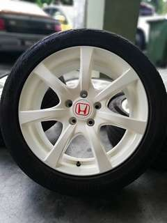 Type r 17 inch sports rim civic fb tayar padu khau khau continental 90%. *value buy item*