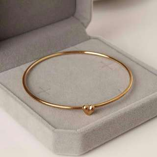 Elegant Gold Heart Charm Bangle/Bracelet