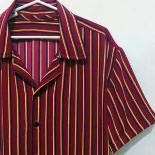 Rare Designer Vintage stripes Button down Polo