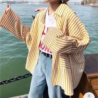 寬鬆直條紋襯衫外套❤️
