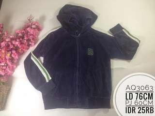 Jaket hoodie anak beludru import AQ3063