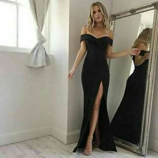 BLACK OFF-SHOULDER LONG GOWN WITH SLIT (fitted) for RENT/SALE