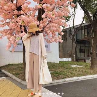 🚚 超長版薄針織杏色罩衫