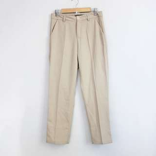 Korean Fashion Style Light Cream High-Waisted Cream Pants (S-M)