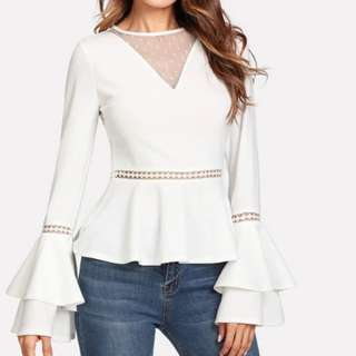 (PO)White Bell Sleeve Top