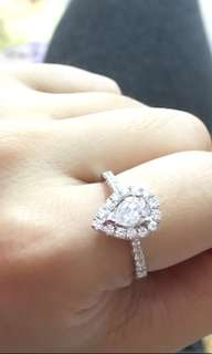 🈹️私人放 18k白金天然鑽石戒指 GIA 共93份D色 平售$19800