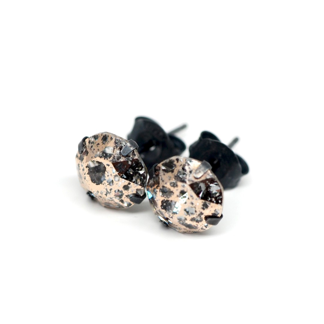 d9a65b696 8mm Rose Gold Meteorite Swarovski Crystal 925 Oxidised Sterling ...