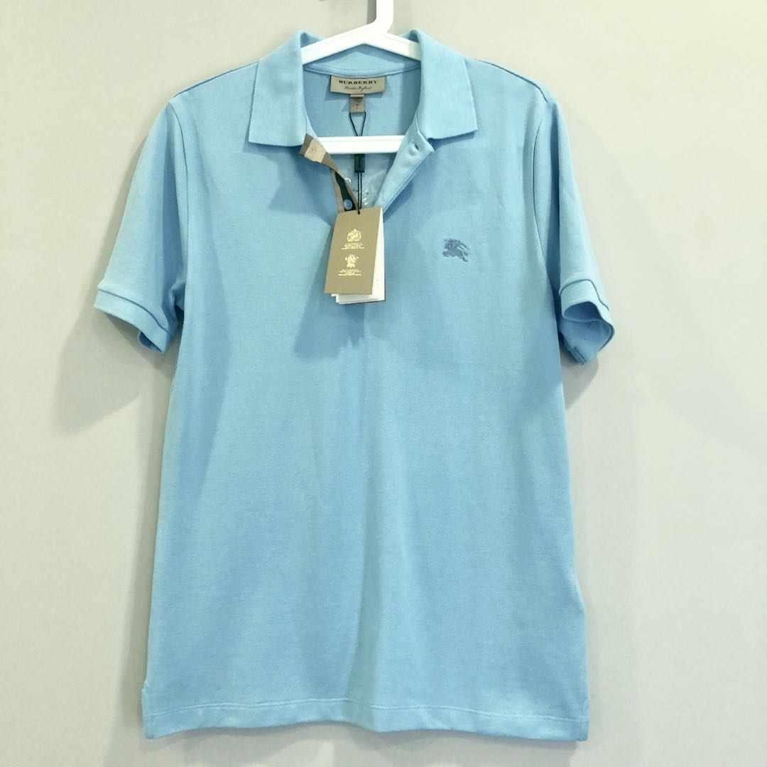 95104f9c Authentic Burberry Polo Shirt baby blue, Men's Fashion, Clothes ...