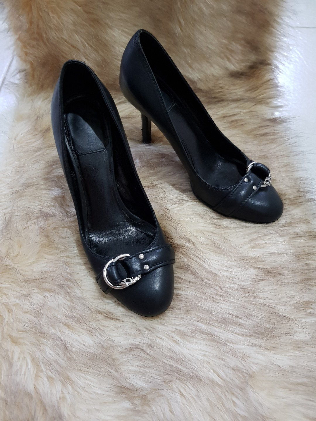 6f067fdcc7 Authentic Christian Dior Black Leather Pumps Size 36, Women's ...